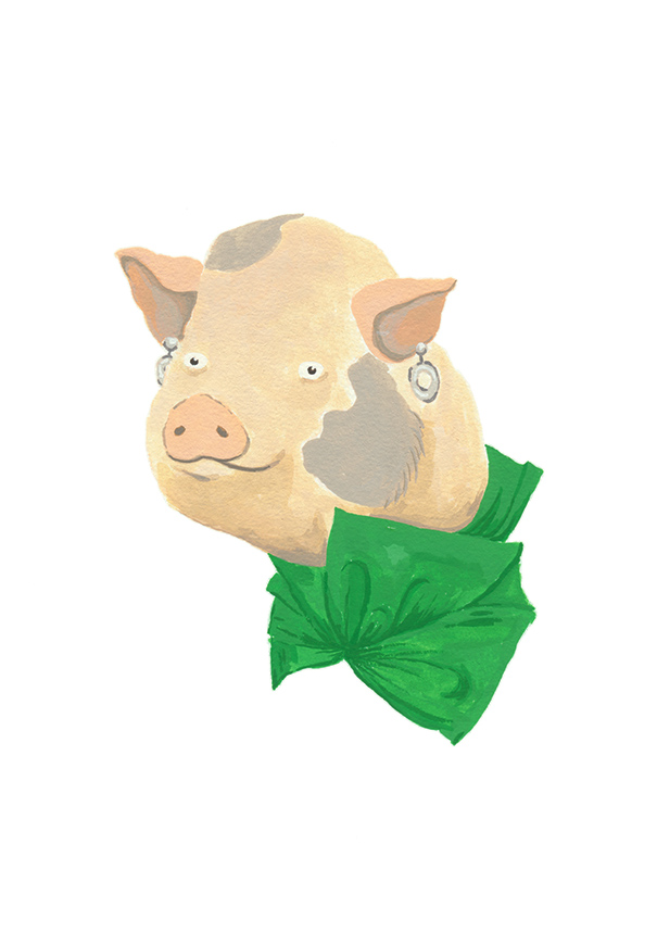 Farm Fashion Pig. From a series of farm animals wearing couture. Gouache.