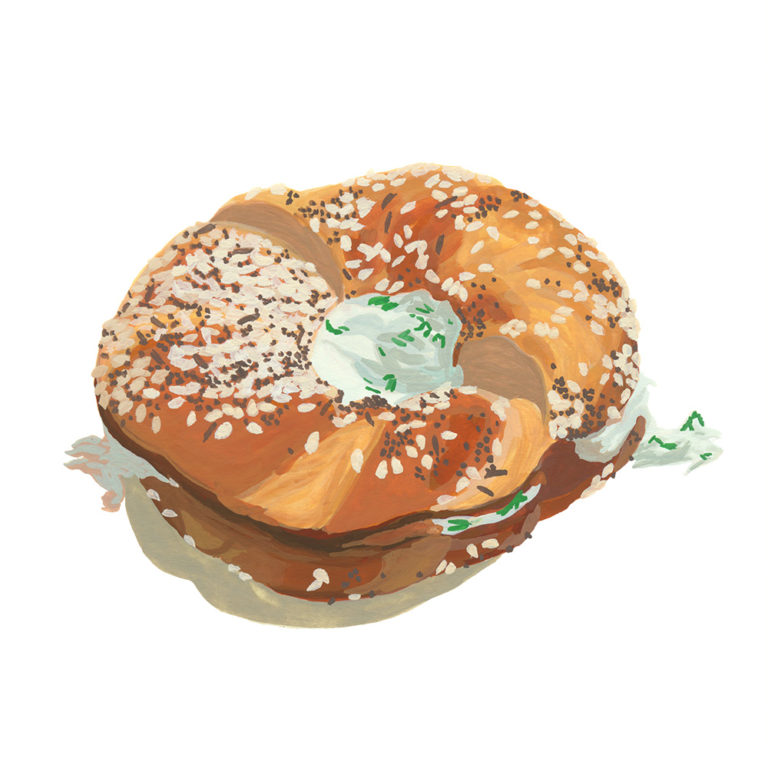 Cream cheese and chive bagel. Gouache.