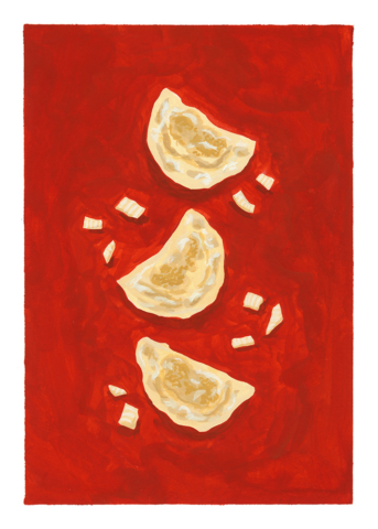 Pierogi. Part of a series of paintings created for the Polish Cultural Open Day in Ashfield. Gouache.