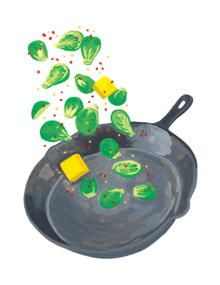 """Brussels sprouts created for Karolina Ficek's collaborative cookbook, """"Recipes From Lockdown."""" Gouache."""