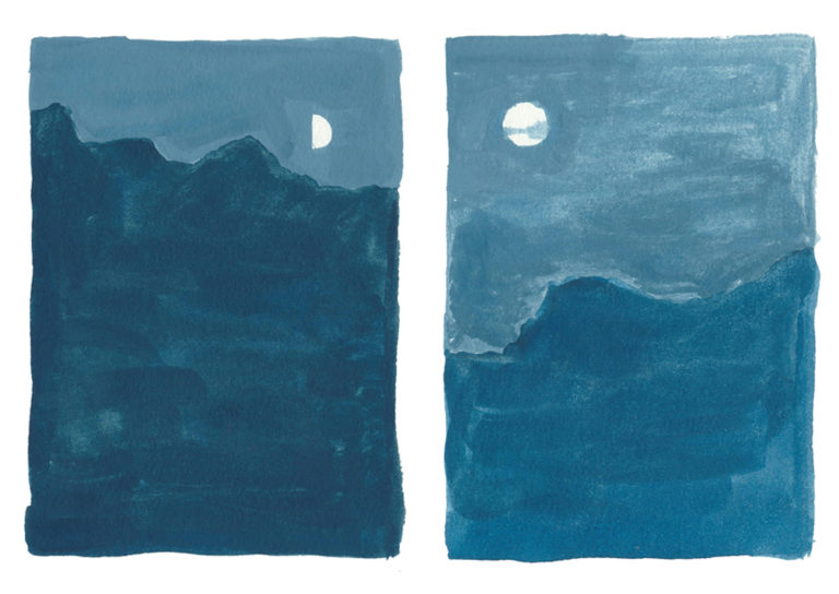 Moonscapes Zine. Different phases of the moon, seen from down on the earth.