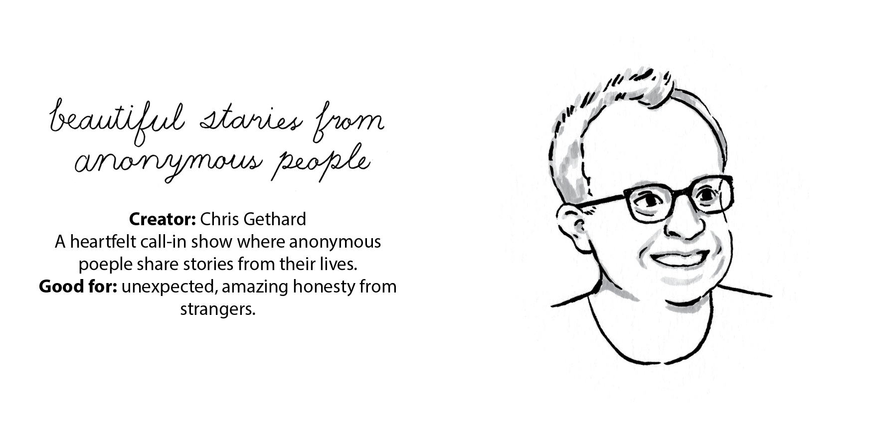 Podcaster Portraits Zine. Some of my favourite podcasts and portraits of the people who make them.